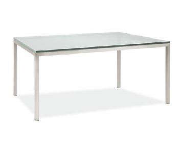 Room & Board Satin Etched Tempered Glass Top Dining Table