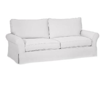 Pottery Barn Comfort Roll Arm White Twill Slipcovered Sofa
