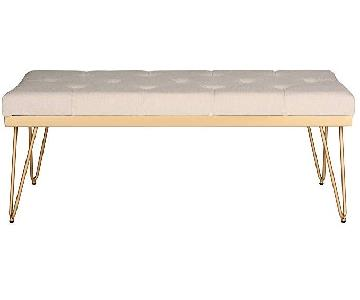 Safavieh Tufted Bench/Coffee Table in Beige & Gold