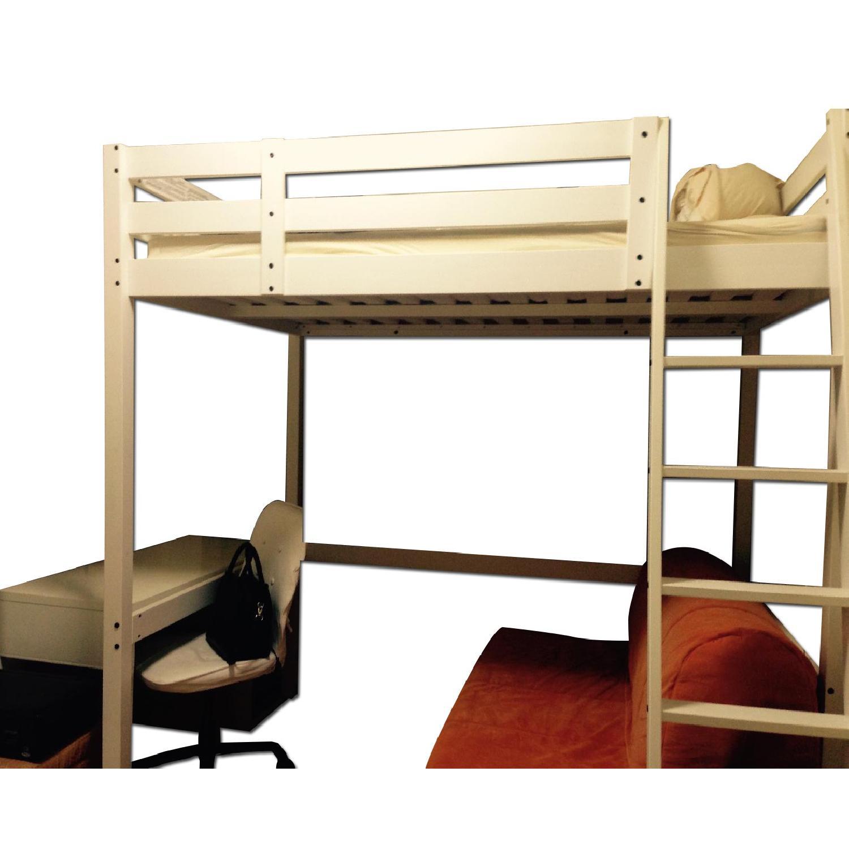 Picture of: Ikea White Wooden Full Loft Bed Aptdeco