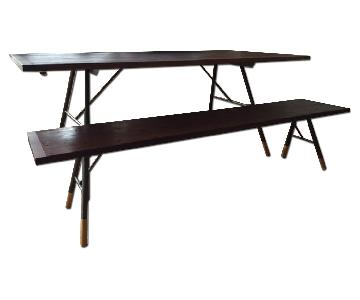 ABC Carpet & Home Modern Rustic Dining Table w/ 1 Bench