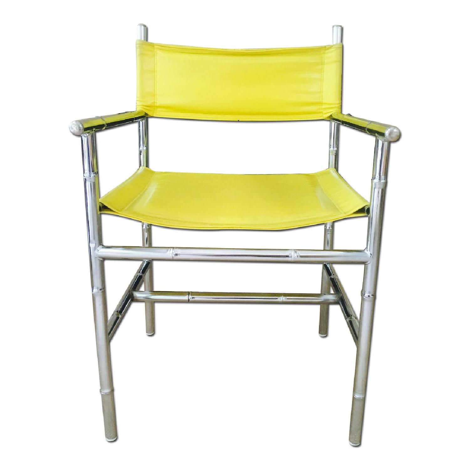 Mid Century Chrome Arm Chair in Yellow
