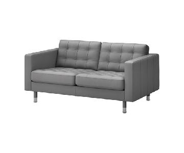 Ikea Grey Faux Leather Loveseat