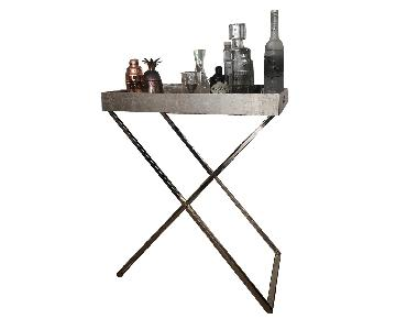 West Elm Butler Tray Stand w/ Silver Tray