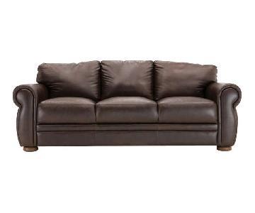 Raymour & Flanigan Dark Brown Leather Sofa