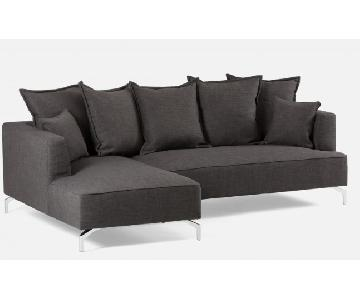 Modern 2 Piece Dark Gray Sectional Sofa w/ 7 Cushions