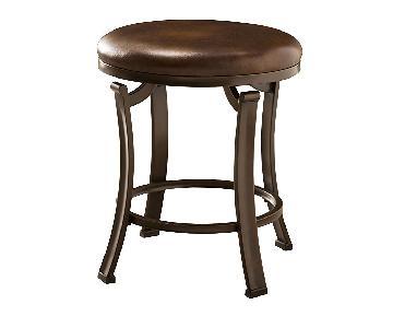 Hillsdale Hastings Backless Vanity Stool in Antique Brown