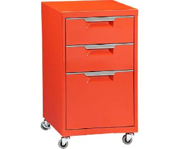 CB2 Orange TPS 3-Drawer Filing Cabinet