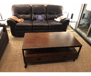 Wood Coffee Table w/ Drawers & Casters