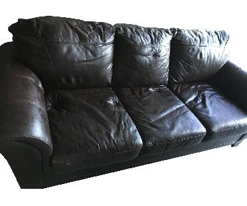 Brown Faux Leather Sleeper Sofa