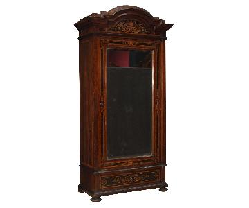 20th Century Italian Wardrobe in Inlaid Wood w/ Mirror