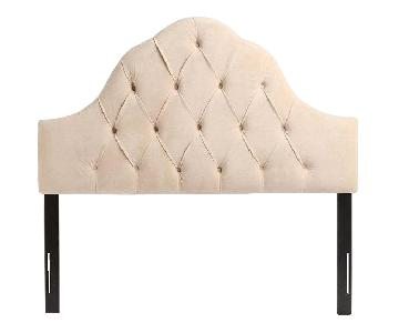 Urban Outfitters Velvet Tufted Headboard in Wheat/Offwhite