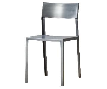 CB2 Brushed Metal Chairs