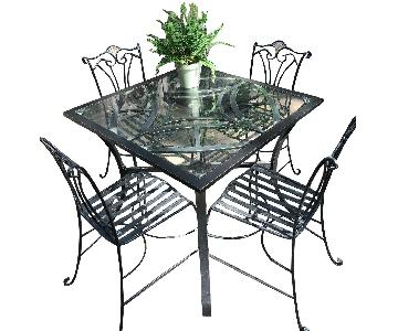Outdoor Patio Table w/ 4 Wrought Iron Chairs