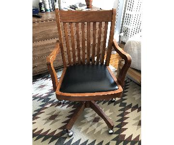 Wood Swivel Desk Chair w/ Black Seat