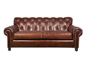 ABC Carpet & Home Brown Leather Tufted Sofa