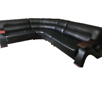 Black Leather 4-Piece Sectional Sofa