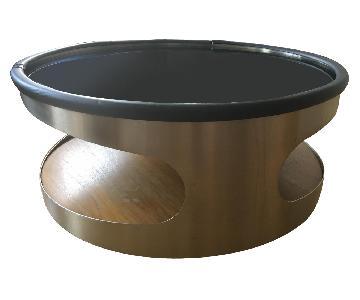 Glass & Metal Round Coffee Table w/ Storage