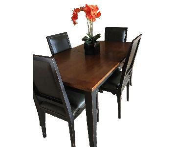 Crate & Barrel Extension Dining Table w/ 4 Leather Chairs