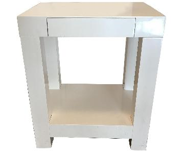 Crate & Barrel White Side Table