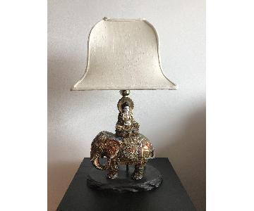 Antique Ceramic Elephant Lamp