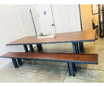 Modern Wood Table w/ 2 Benches