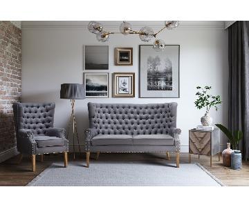TOV Furniture Abe Grey Linen Loveseat