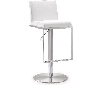 TOV Furniture Amalfi White Steel Adjustable Barstool