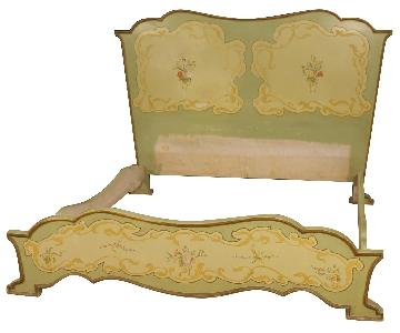 Art Nouveau Style Italian Painted Wooden Double Bed