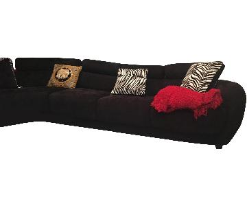 Black Ultra Weinman Suede Sectional Sofa