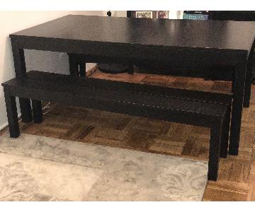 Ikea Bjursta Extendable Table w/ 2 Benches in Brown-Black