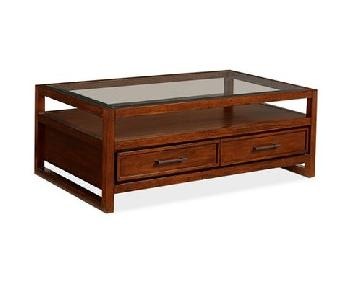 Macy's Battery Park Glass Top Coffee Table w/ Drawers