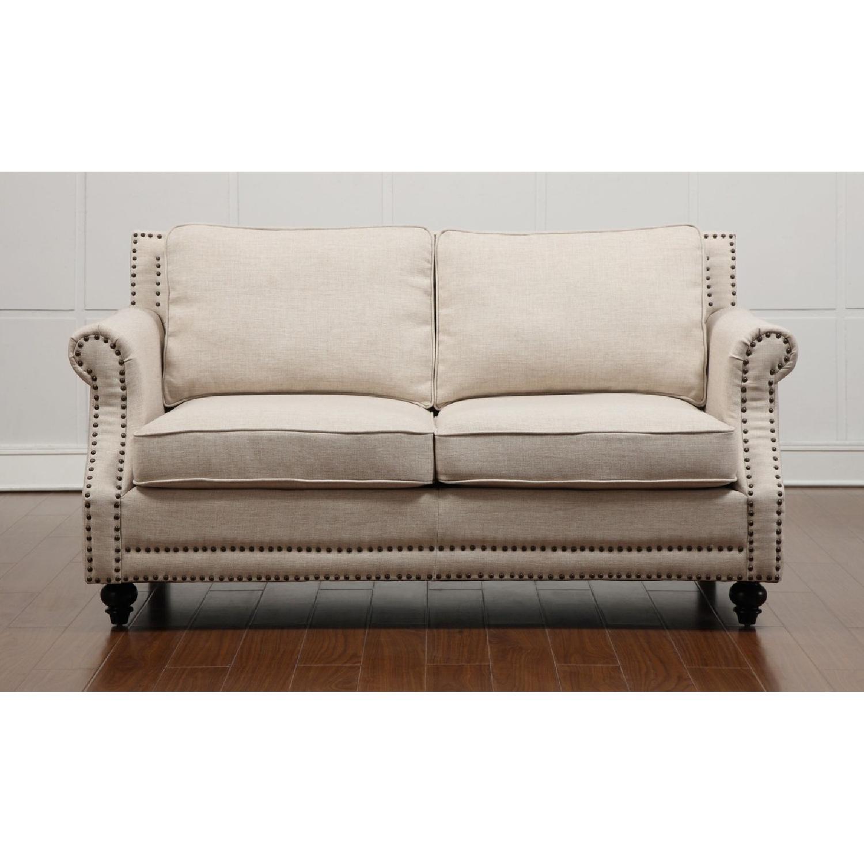 ... TOV Furniture Camden Beige Linen Loveseat 0 ...