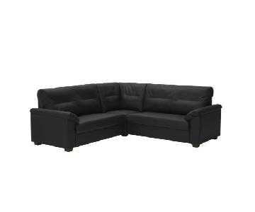 Ikea Knislinge 4 Seat Black Faux Leather Sectional Sofa