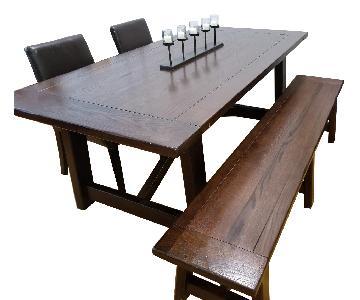 Pottery Barn Lucas Mahogany X Dining Room Table w/ Bench