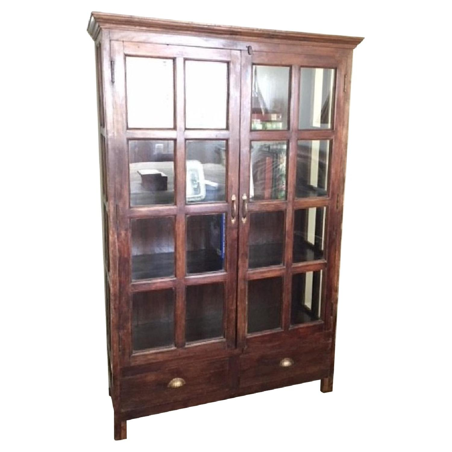 Antique Bookcase W Glass Doors Aptdeco