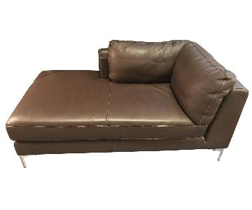 Design Within Reach Albero Chaise in Chocolate Brown Leather