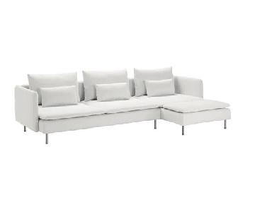 Ikea White 4-Seat Sectional Sofa w/ Chaise