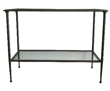 Crate & Barrel Glass & Metal Console Table
