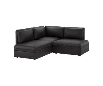 Ikea Vallentuna Black Leather Sectional Sofa