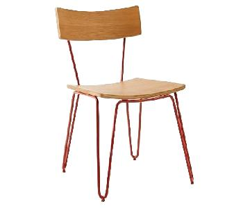 West Elm Hairpin Leg Dining Chairs in Almond/Vermillion
