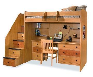 Berg Furniture Utica Twin Loft Bed w/ Staircase & Desk