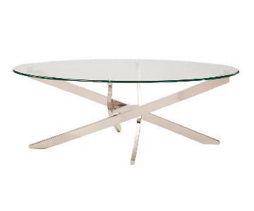 Raymour & Flanigan Modern Oval Glass Top Coffee Table