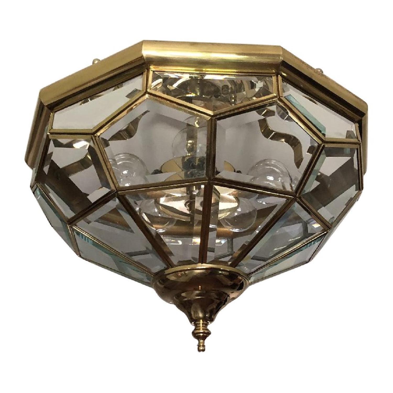 Vintage Beveled Glass & Polished Brass Ceiling Light