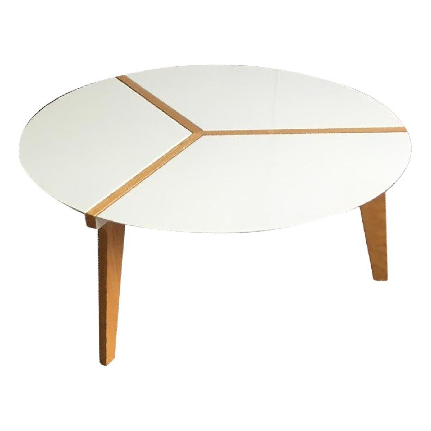 Picture of: Cb2 Round Metal Wood Coffee Table Aptdeco