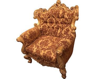 Solid Wood Gold Leaf Rococo Arm Chair