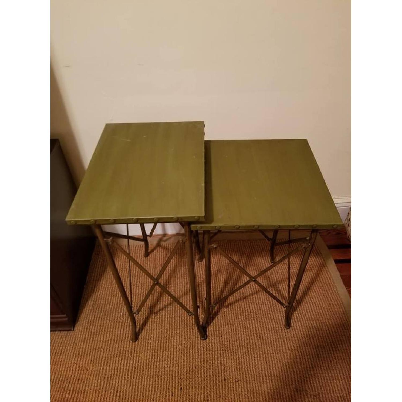 Pottery barn green metal nesting tables aptdeco pottery barn green metal nesting tables 0 watchthetrailerfo