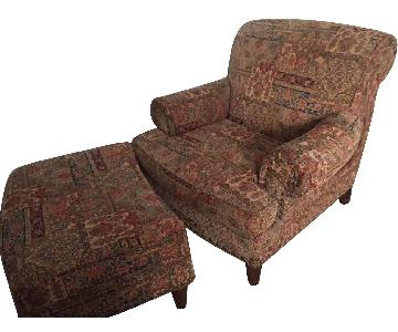 ABC Carpet and Home Classic Upholstered Armchair & Ottoman