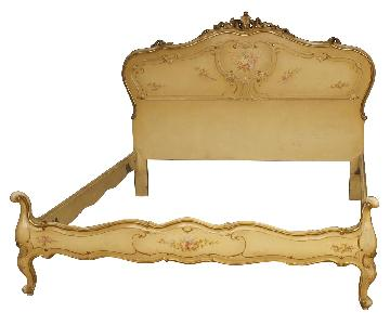 Venetian Double Bed in Lacquered & Painted Wood