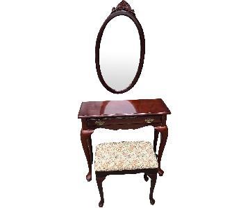The Bombay Company Vanity w/ Mirror & Stool